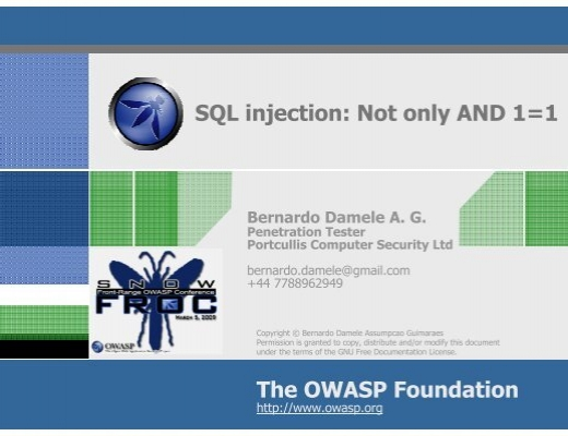 The OWASP Foundation SQL injection: Not only AND 1=1