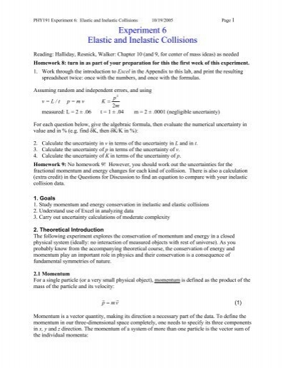 Experiment 6 Elastic And Inelastic Collisions