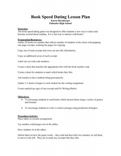 Speed dating books lesson plan