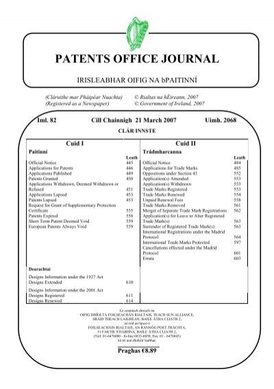 foto de 2068 - patents office journal - Irish Patents Office
