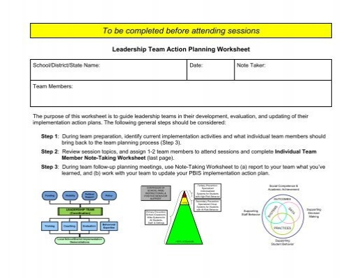 Leadership Team Action Planning Worksheet  Cvent