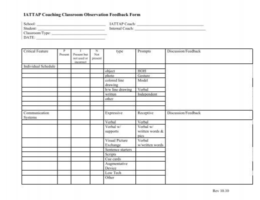 Iattap Coaching Classroom Observation Feedback Form  Pbis