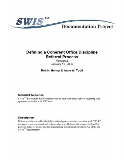 Defining A Coherent Office Discipline Referral Process PBIS