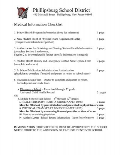 sports physical form elementary  Secondary Medical Forms - Phillipsburg School District