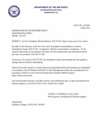 Afi 25 201 Support Agreements Air Force E Publishing