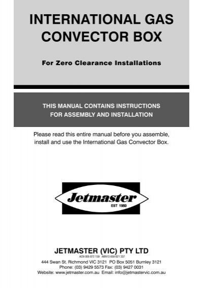 Jetmaster universal installation & operation instructions pdf.