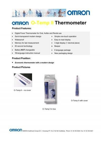 o temp thermometer o temp ii thermometer