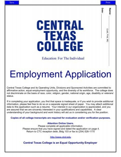 employment application pfec central texas college