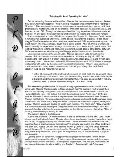 PKD-Otaku #13 - Philip K  Dick Fan Site