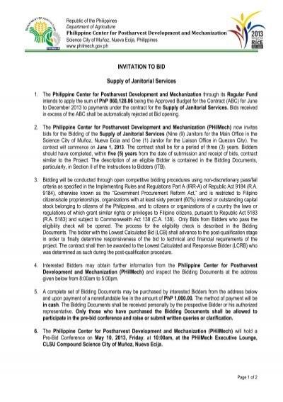 Invitation to bid supply of janitorial services philippine center invitation to bid supply of janitorial services philippine center stopboris Images