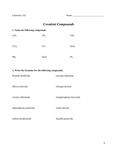 All Worksheets » Naming Covalent Compounds Worksheets - Printable ...