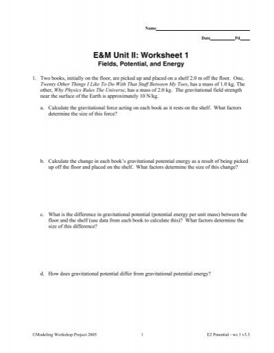 E&M Unit II: Worksheet 1