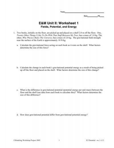 E&M Unit II: Worksheet 1