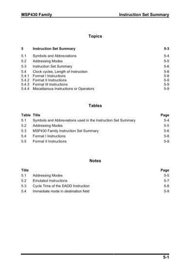 Msp430 Family Instruction Set Summary 5 1 Topics Tables Notes