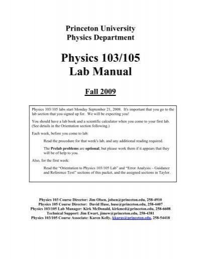 physics 103 105 lab manual department of physics princeton rh yumpu com Physics Lab Report Physics Textbook