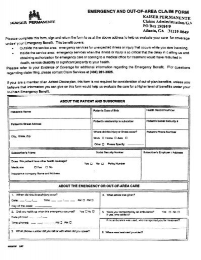 Emergency and Out-of-Area Claim Form