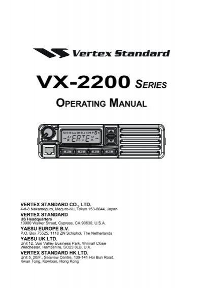 vx 2200 owner s manual vertex standard