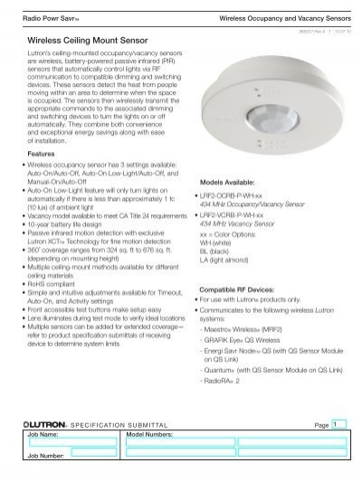 New Lutron Lrf2-ocrb-p-wh Wireless Ceiling Mount Sensor
