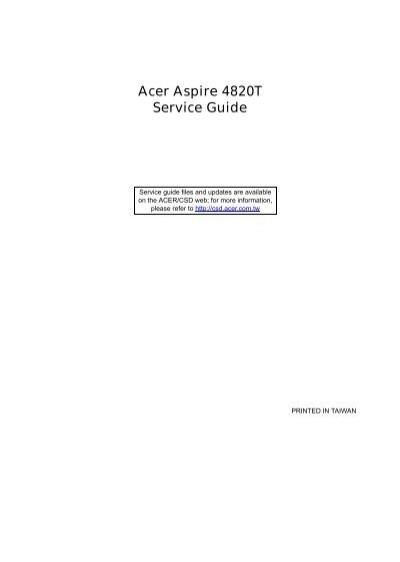 acer aspire 4820t sg acer support rh yumpu com acer aspire 4820tg service manual Acer Aspire One Manual