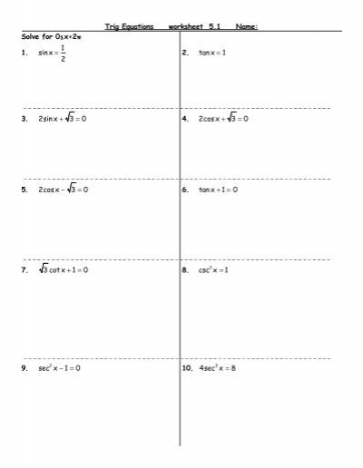 trig equations worksheet resultinfos. Black Bedroom Furniture Sets. Home Design Ideas