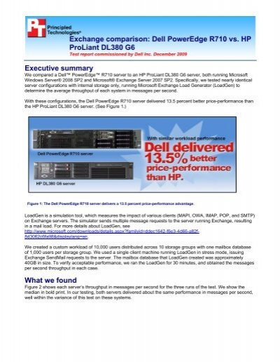 Exchange comparison: Dell PowerEdge R710 vs  HP ProLiant
