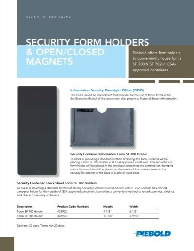 Security Form Holders & Open/closed magnets - Diebold