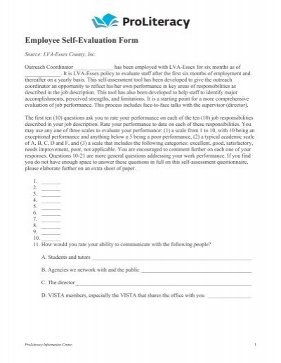 SAC SelfEvaluation Form floridafamilynet – Student Self Evaluation Form