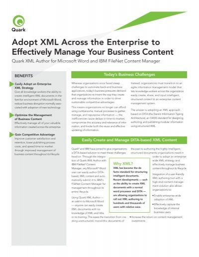 Ibm A Filenet A Content Manager Info Sheet Quark