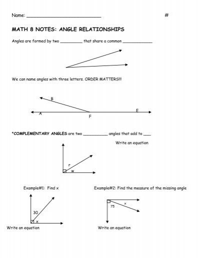 Math 8 notes angle relationships quia ccuart Choice Image