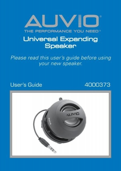 AUVIO Universal Expanding Speaker Users Guide