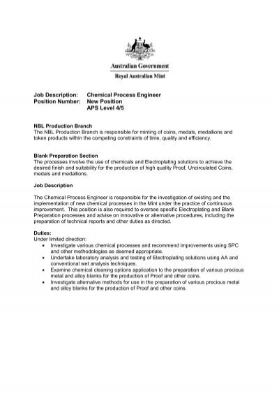 Job Description Chemical Process Engineer Position Number New