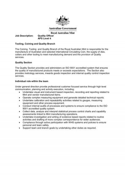 job description quality officer aps level 4 tooling coining and