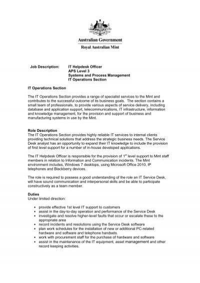 Job Description: Purchasing Officer APS Level 4 Finance Branch ...