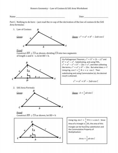 honors geometry law of cosines sas area worksheet name. Black Bedroom Furniture Sets. Home Design Ideas