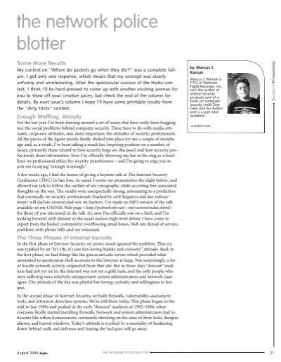 the network police blotter - Marcus Ranum