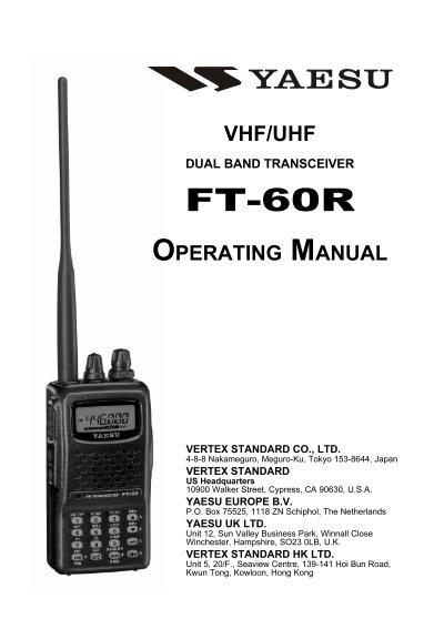 ft 60r operating manual yaesu uk ltd rh yumpu com yaesu ft65r service manual yaesu ft-60r repair manual