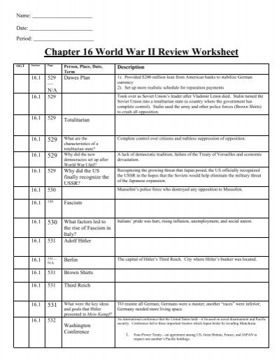Chapter 16 World War Ii Review Worksheet Revere Local