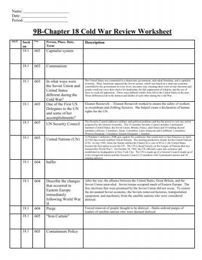 cold war worksheet