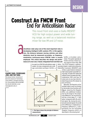 Construct An FMCW Front End For Anticollision Radar