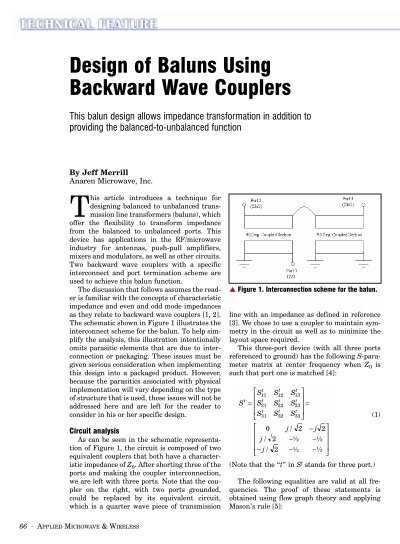 Design of Baluns Using Backward Wave Couplers