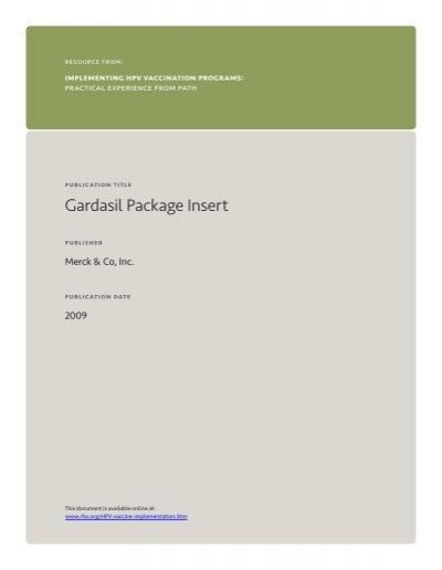 hpv gardasil package insert ce arată negii