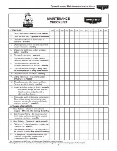 instructions for continued airworthiness checklist