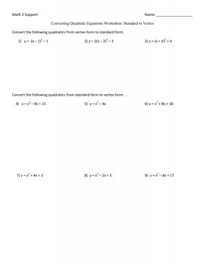 Converting Quadratic Equations Worksheet - Coach Forrester