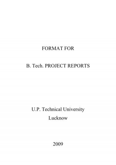 Formal Project Report FormatSpecifications
