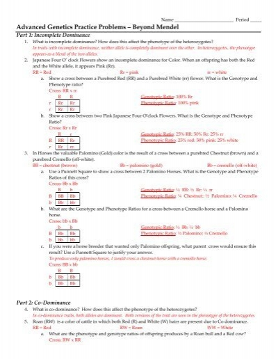 Beyond Mendelian Genetics Worksheet: More Genetics Problems – Beyond Mendel,