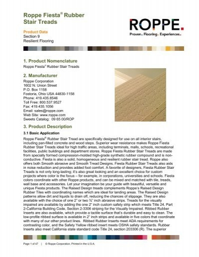 Fiesta Rubber Stair Treads   Roppe Corporation
