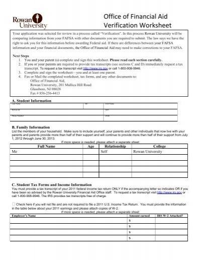 Office of financial aid verification worksheet rowan university ibookread Read Online