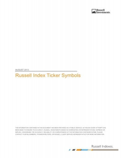 Russell Index Ticker Symbols Russell Investments