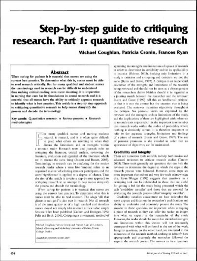 critique of research report howlett n Reading journal articles critically 2 how do you discover whether there is anything to critique in logical consistency does the research report follow the.