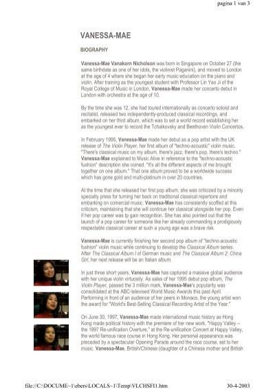 Biography - Four Seasons of Vanessa-Mae
